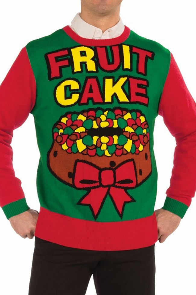The perfect yuletide gift for that slightly unstable family member (we've all got one). Fruit Cake novelty Christmas jumper available from [_Amazon_](http://www.amazon.com/Forum-Novelties-Novelty-Christmas-Sweater/dp/B00PWEKXDI)