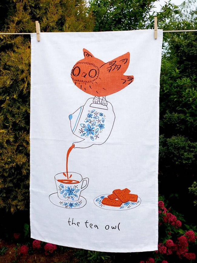 Tea Owls tea towel design by Jo Clark Design,[notonthehighstreet.com](http://www.notonthehighstreet.com/joclarkdesign/product/the-tea-owls-tea-towels)
