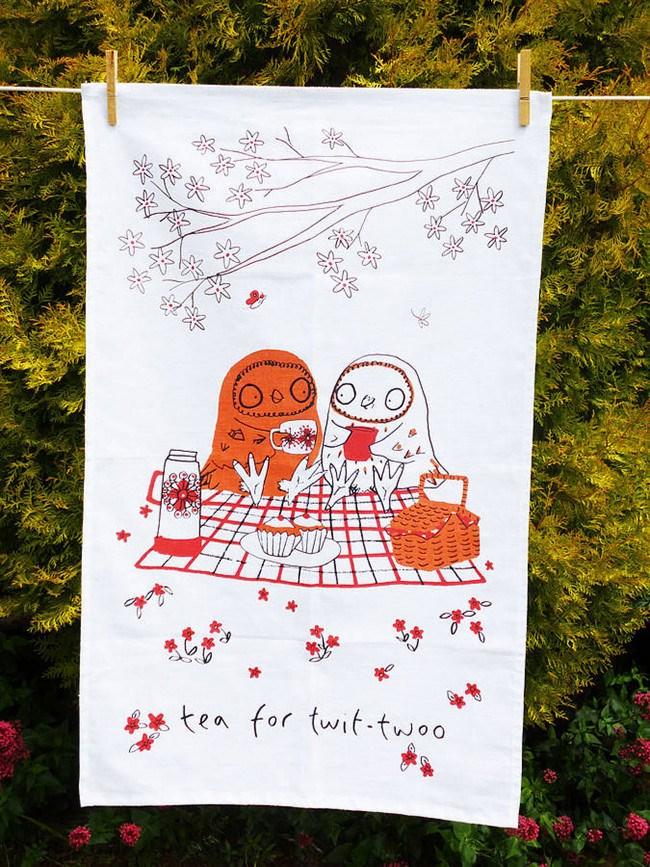 Tea Owls tea towel design by Jo Clark Design, [notonthehighstreet.com](http://www.notonthehighstreet.com/joclarkdesign/product/the-tea-owls-tea-towels)