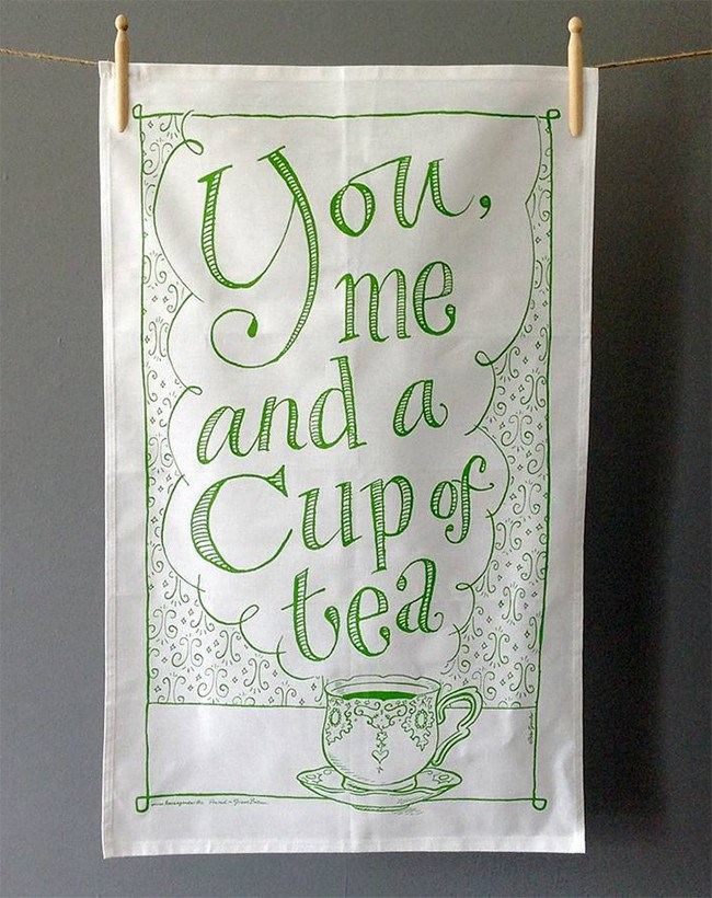 You, me and a cup of tea tea towel design by Have A Gander, [notonthehighstreet.com](http://www.notonthehighstreet.com/haveagander/product/you-me-and-a-cup-of-tea-tea-towel)