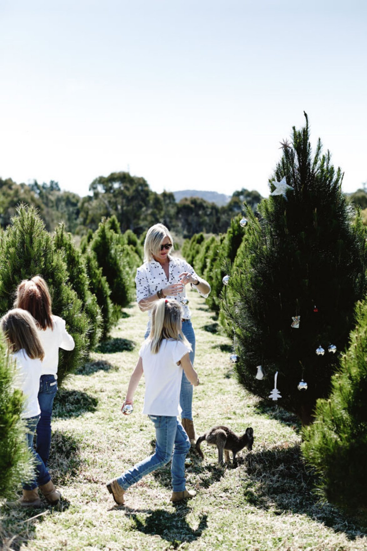 Louisa and three of her daughters apply a decorative touch to one of the 35,000 Christmas trees on their farm.
