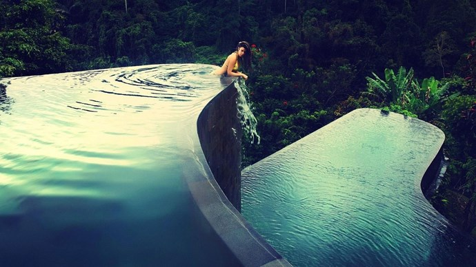 Hanging Gardens, Bali, Indonesia. Tucked away in the lush greeney of Ubud you'll find these twin-level cascading swimming pools facing an ancient Hindu temple across a spectacular plunging gorge.