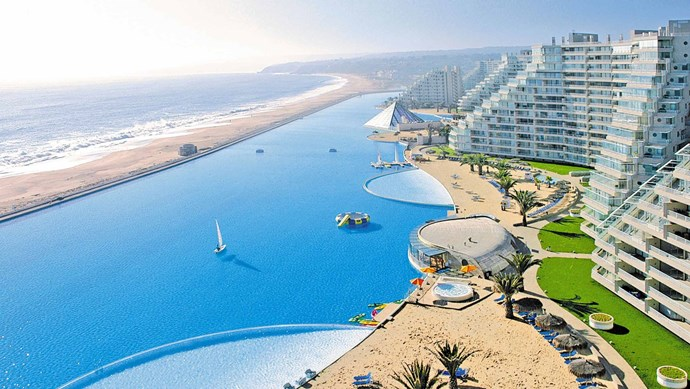 San Alfonso Del Mar, Chile. The world's largest crystalline water pool, covering eight hectares and holding 250 million litres of water - roughly the equivalent of 6,000 eight metre-long pools.