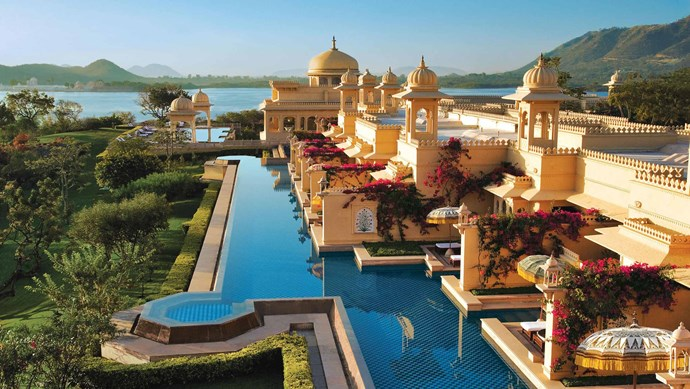 The Oberoi Udaivilas, Rajasthan, India. Swim like royalty in this infinity pool, fashioned like a luxurious moat around a Rajasthani palace.