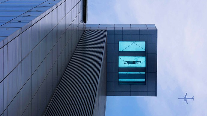 Holiday Inn, Shanghai. Afraid of heights? Best not to look down while doing laps in this glass-bottomed hotel pool on the 24th floor.