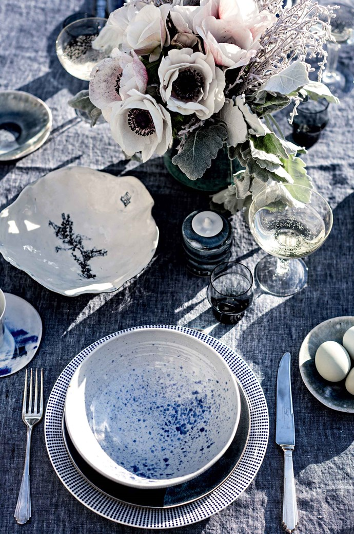 Choose a colour, like blue, and use different shades of it in your table setting for a matching-but-not effect.   Photo: Felix Forest