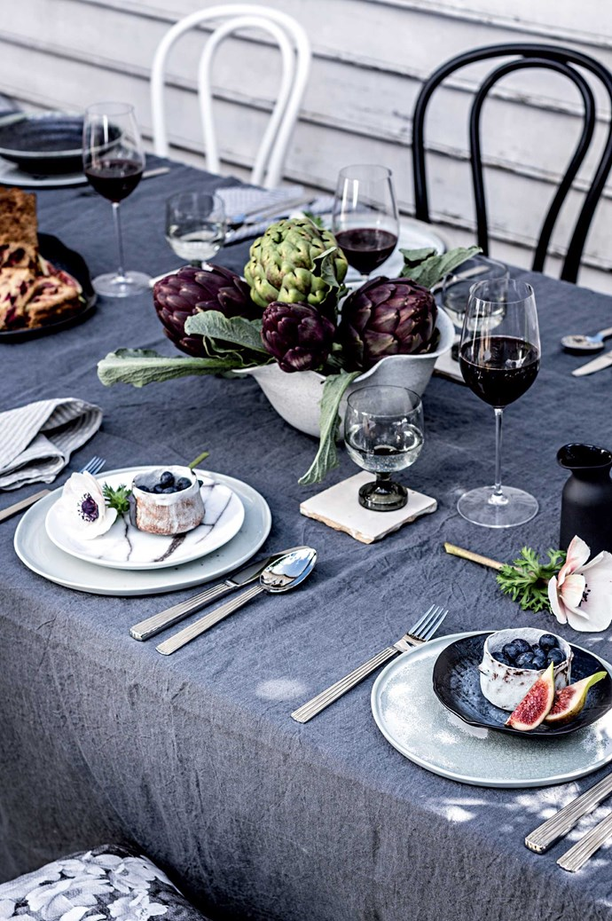 Don't make it too perfect - the creases in this linen tablecloth add to the relaxed, outdoor feel.   Photo: Felix Forest