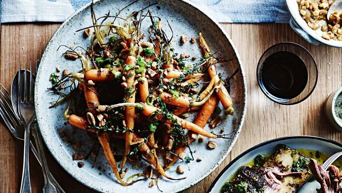 [Roasted carrots with herbs, honey, onion, lemon and peanuts.](http://elb.fe.hl.nlm.io/recipes/mains/roasted-carrots-and-humita) | Photo: Mark Roper