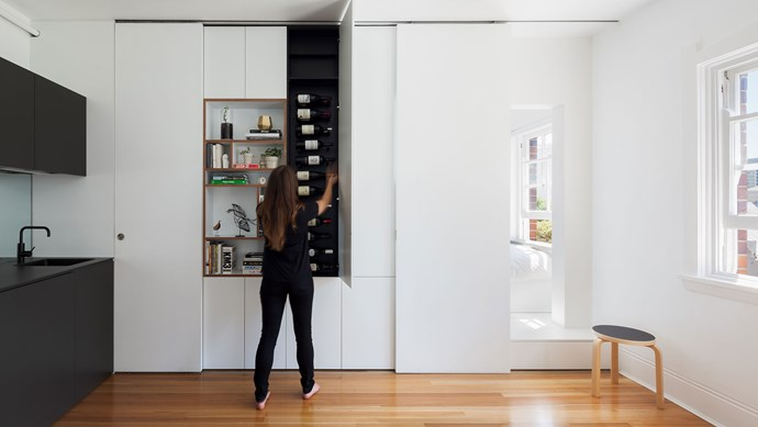 Even with just 27 square metres, there's room for a wine cellar.   Photo: Katherine Lu