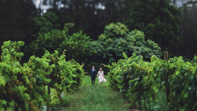 The bride and groom in the vineyard at Roberts Circa 1876 restaurant. | Photo: Jac + Heath