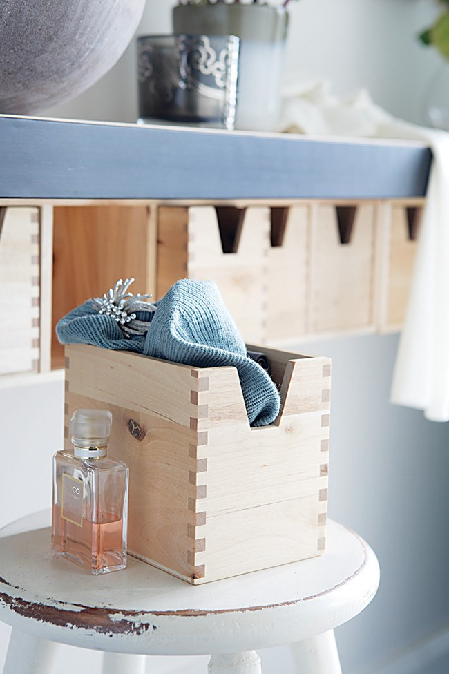 5. Storage boxes. Using storage such as this to hold essentials like a scarf and fragrance means that, even in a rush, you'll be ready to walk out the door.   Photo: Sam McAdam-Cooper