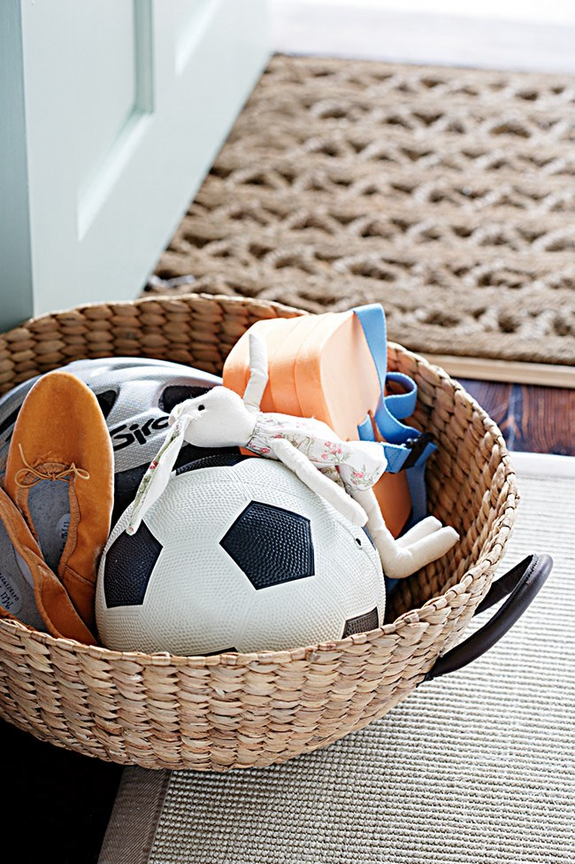 7. Baskets. A heavy duty basket for your entrance is great for holding shoes and shorts equipment.    Photo: Sam McAdam-Cooper