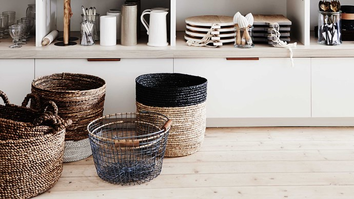Assorted baskets from [Bloom & Co Homewares and Interior Design Accessories](https://bloomandco.com.au/collections/homewares/baskets-storage?page=1). | Photo: Lisa Cohen