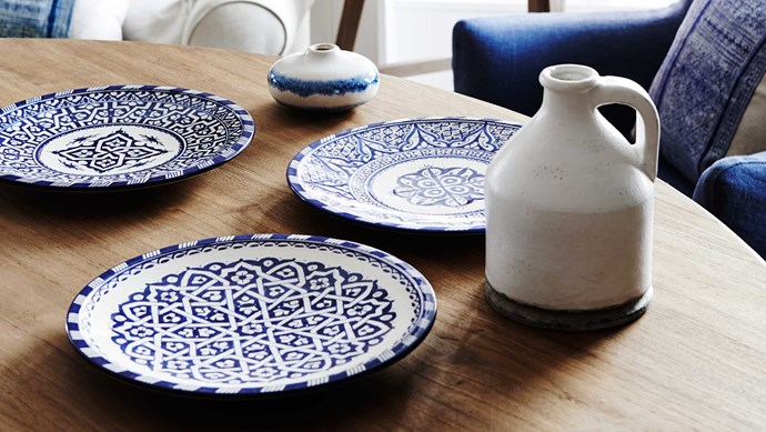 Stylish blue and white patterned plates from [Bloom & Co Homewares](http://bloomandco.com.au/).   Photo: Bloom & Co Homewares