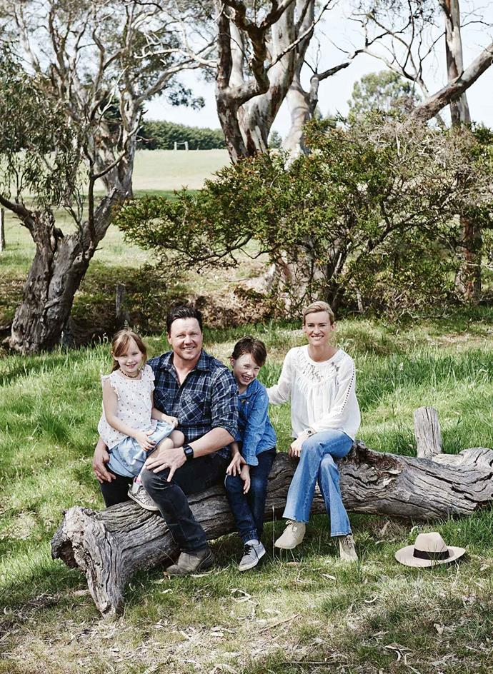 Johnny and Claire Grieg on the property with their kids, Sophia and Gus.