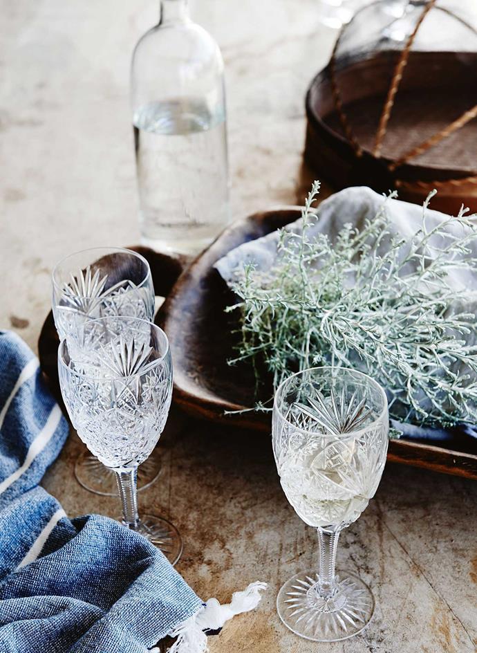 Heirloom crystal glasses.