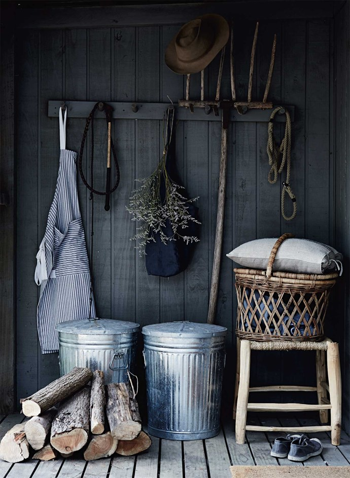 "At the back door, a rustic stool from Melbourne's [Turner & Lane](https://turnerlane.com.au/|target=""_blank""