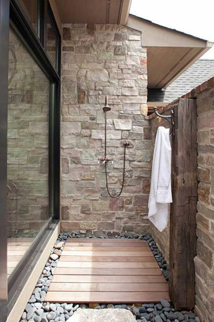 Or, if an outdoor shower is installed in a location with a slippery or uncomfortable surface like gravel you can set a small base on top of the surface.