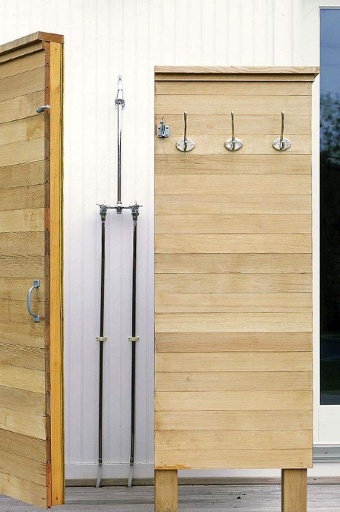 The easiest way is to have a plumber install an outdoor hot-water faucet next to your existing outdoor (and cold water only) garden faucet. Then you can attach two hoses easily and quickly to the outdoor fixture. Photo courtesy of Remodelista.