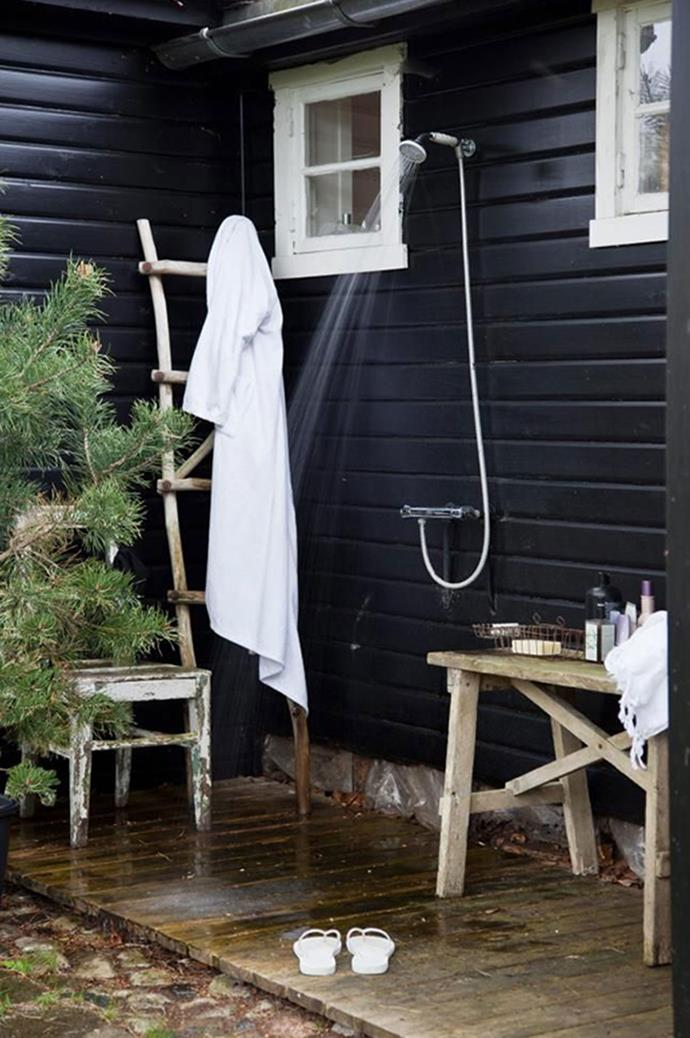 Outdoor showers can be installed on rooftops, balconies, and in small back gardens, even on the facade of your home. Photo courtesy of Klikk.