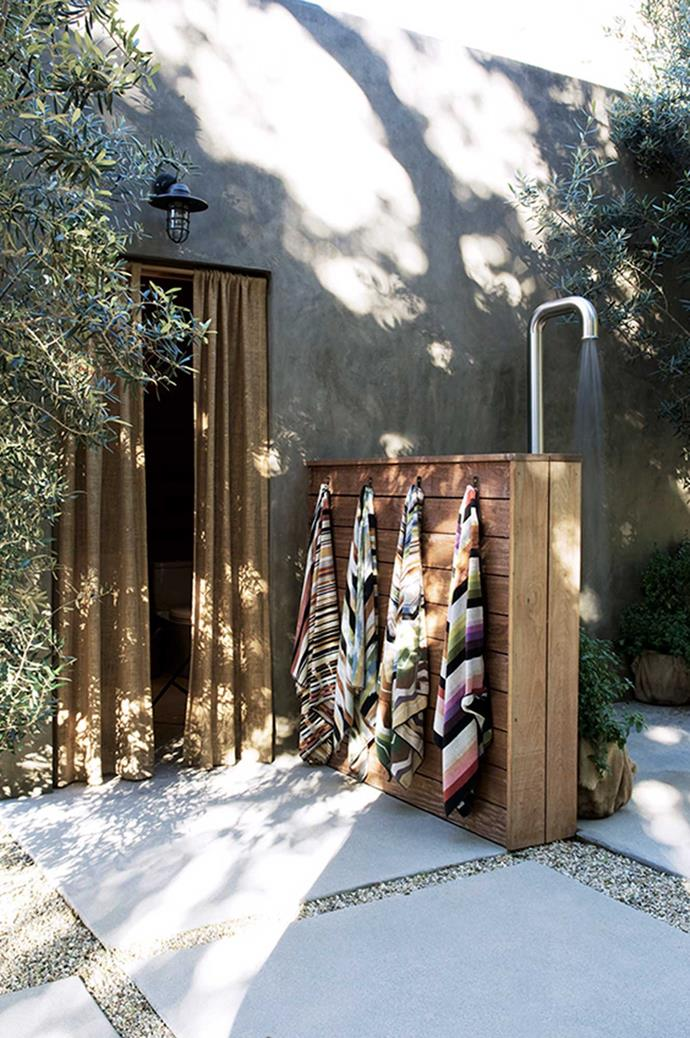Consider how you intend to use your outdoor shower. To clean dogs and muddy feet? To rinse off after a day at the beach? Or are you lucky enough to live in a warm climate where you might have your daily shower outside? Site the shower for convenience. Photo courtesy of My Domaine: Alexander Desing.