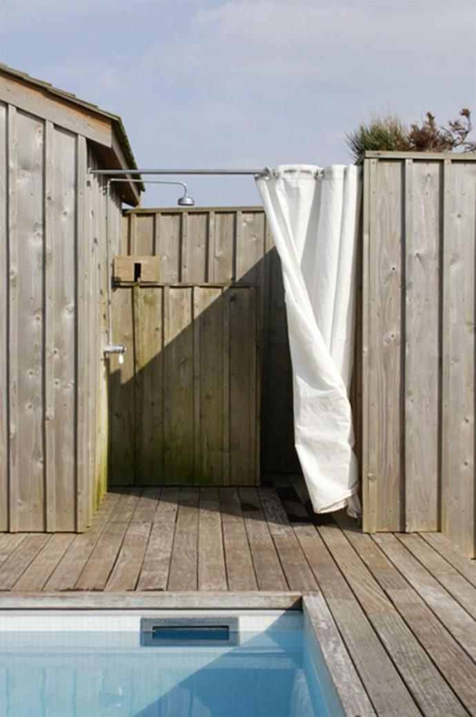 A sunny area is best, both for the user's benefit and to prevent mould and rot. Photo courtesy of Remodelista.