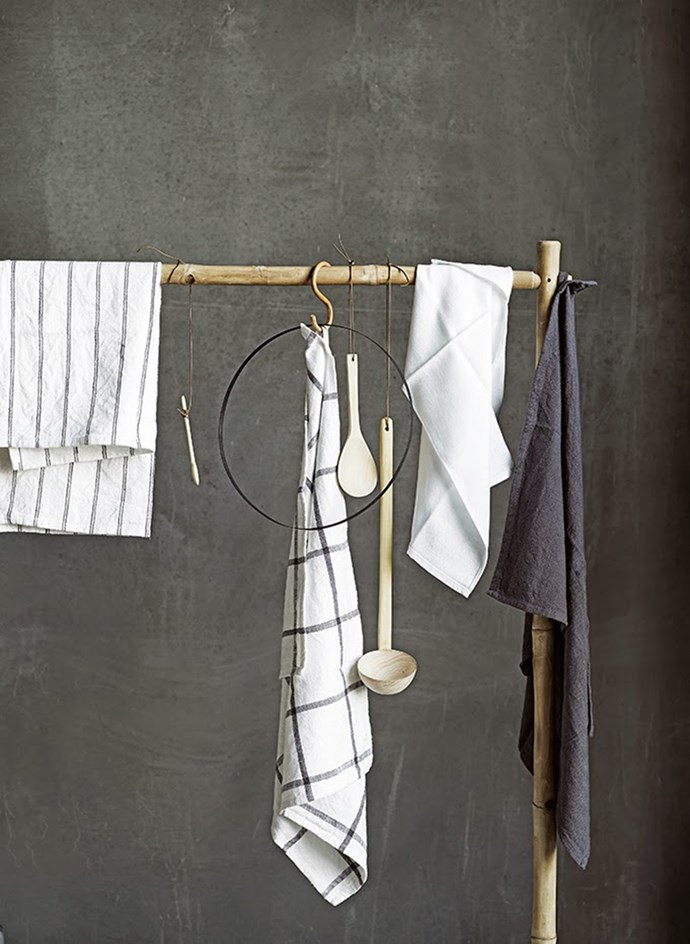 8. Buy a few fresh tea towels such as these crisp, timeless cotton designs by Tine K Home.