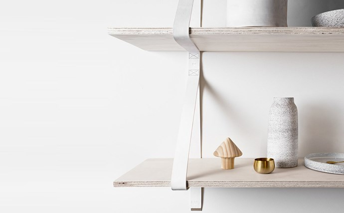 Artek timber shelves with leather strapping is a quick-fix, cheaper than built-ins and won't shrink a room, small $99- large, $169. Papaya, (02) 9386 9980, [www.papaya.com.au](http://www.papaya.com.au/)