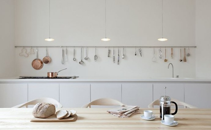 8. Utensil Racks. Room-spanning storage rail systems are becoming the kitchen's star turn in 2016. Great problem solvers, too. They are a quick fix, cheaper than shelves, (or built-ins), and sometimes preferable because they don't shrink a room. They can be attached to virtually any surface, too. Kitchen designed by Sevil Peach Studio, London.