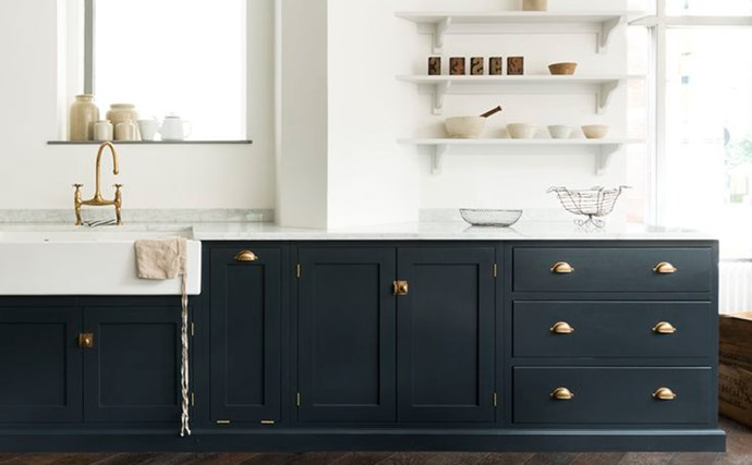 1\. Coloured cabinets. While white may reign supreme in the kitchen, kitchen colours are changing. Charcoal, navy, grey, stone, green-grey, soft blue and tinted whites are the new alternative to standard white, popping up in the world's best houses. And it's not unusual to opt for a different colour for overhead cabinets to below benchtop units. Photo courtesy of Devol Kitchens. Gallery created by interiors expert [Melissa Penfold](http://www.melissapenfold.com/)