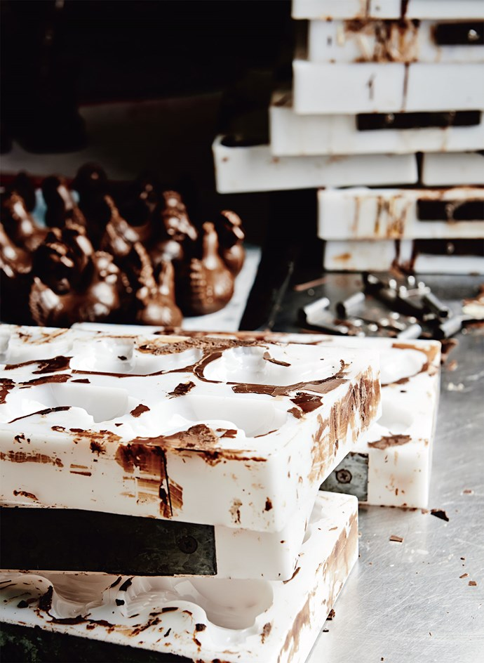 Moulds with their fresh crop of Easter chickens.   Photo: Lisa Cohen