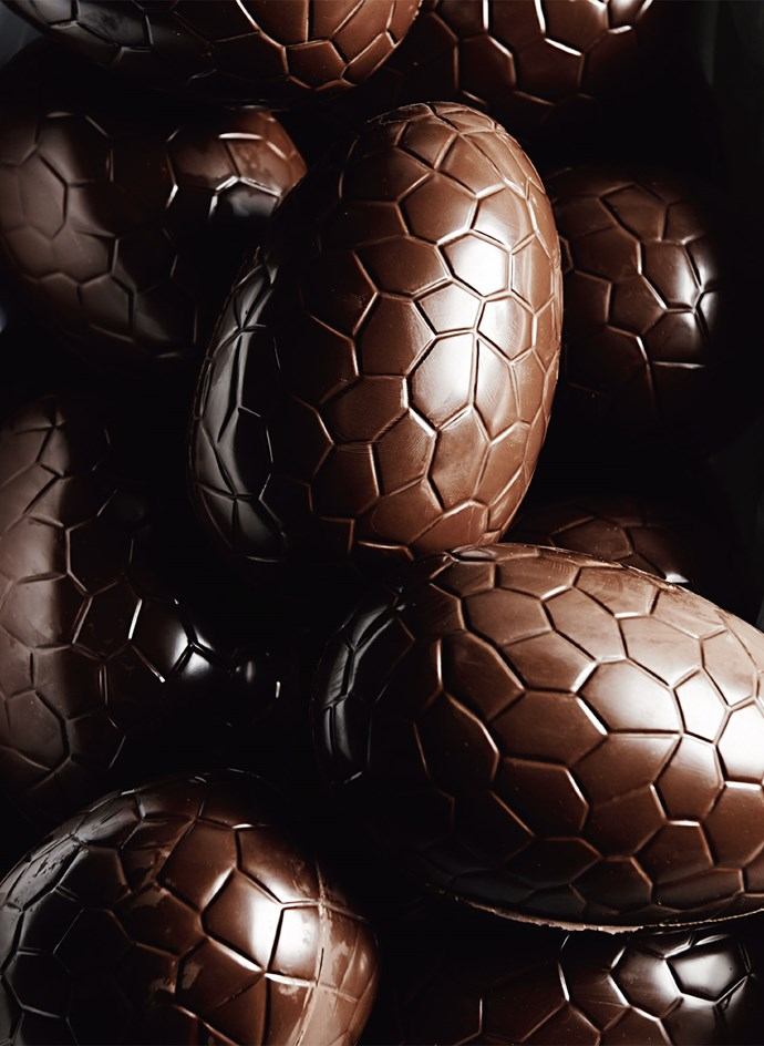 When Peter Wilson first came home and announced he wanted to be a chocolatier, Juliana remembers rolling her eyes. More than 20 years later, the company is a bona fide success. Here, a pile of Easter eggs lays ready for wrapping.   Photo: Lisa Cohen