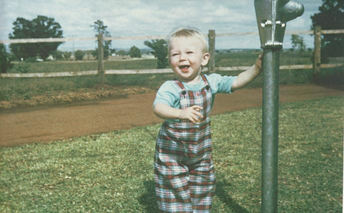Glenn as a toddler, before the move to Narromine. The young McGrath family lived on a farm in Dubbo until Glenn was three, when they made the move to Narromine.