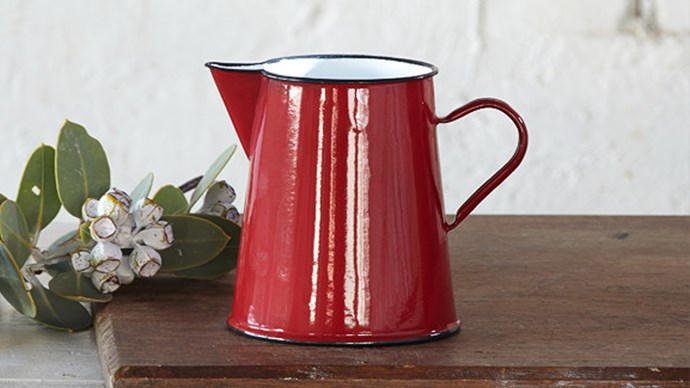#5: It's made by hand. The original enamelware dates back to ancient Egyptian and Roman times and in many places the enamelware surface is still applied by hand. This [jug](http://www.vintagenostalgia.com.au/products/small-enamel-jug-pitcher-red ), for example, is handmade Romania.