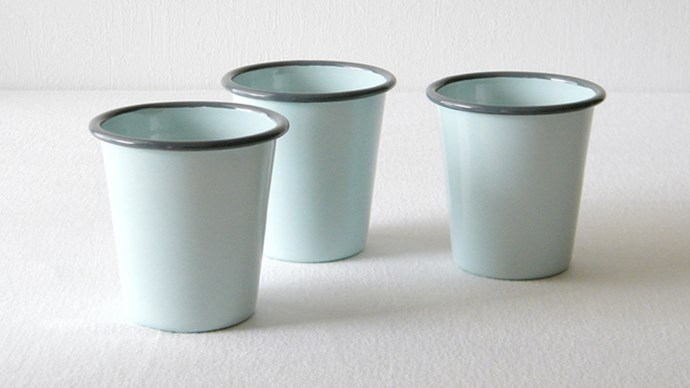 #2: They now come in all manner of mantel-worthy colours – like these [Duck Egg Blue Tumblers](http://www.maisyandgrace.co.nz/product/Duck-Egg-Blue-Enamel-Tumblers ) from Maisy & Grace.
