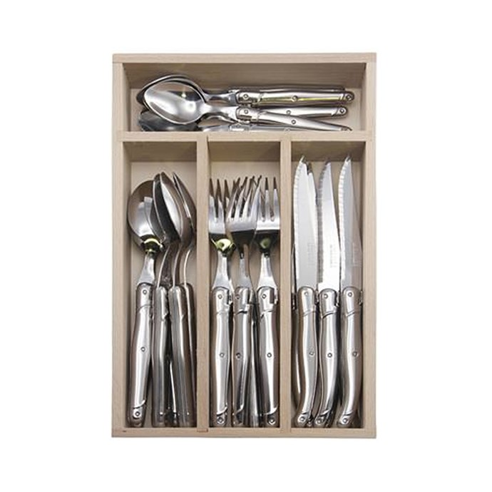 Laguiole has long been known for their epic tableware - but this all-silver set is our favourite incarnation yet. Laguiole by Andre Verdier Debutant Cutlery Set in Mirror, $219.95 for a 24-piece set, [kitchenwaredirect.com.au](http://www.kitchenwaredirect.com.au/Andre-Verdier-Laguiole-Debutant-Cutlery-Set-Mirror-Stainless-24pc?sc=17&category=24298).
