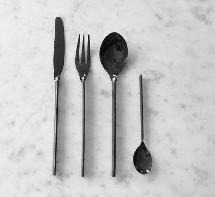 This sophisticated black cutlery comes in a mirror-shine and is (thankfully!) also dishwasher safe. Black Stainless Steel Cutlery Set, $490 for a 24-piece set, [theminimalist.com.au.](http://www.theminimalist.com.au/products/black-flatware)