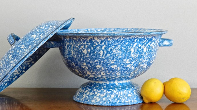 A vintage soup tureen, like this stangl blue and white earthenware pot from [Etsy](https://www.etsy.com/au/listing/224640568/sale-vintage-soup-tureen-stangl-blue?ref=market), offers a cosy space for your plants to simmer down and spill over.