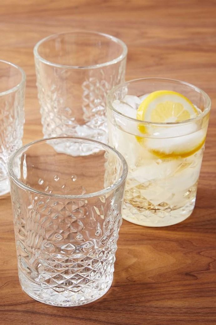 Clear glass is classic, but don't flinch from decorative styles, etched designs or colours. West Elm Carat glass, $10 each. 1800 239 516, [westelm.com.au](http://www.westelm.com.au/)