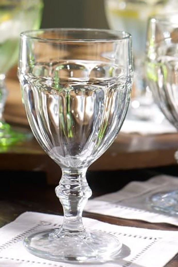 Anything you drink from must be generous, well-balanced and smooth. Pottery Barn Café goblet, set of six, $66. 1800 232 914, [potterybarn.com.au](http://www.potterybarn.com.au/)