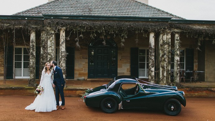 Nick's beloved 1958 Triumph TR3A car. He bought it as a wreck and restored it just in time for the wedding. | Photo: Thomas Stewart