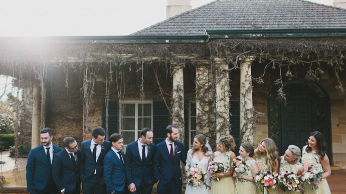 The bridal party in front of the Berkelouw family homestead. | Photo: Thomas Stewart