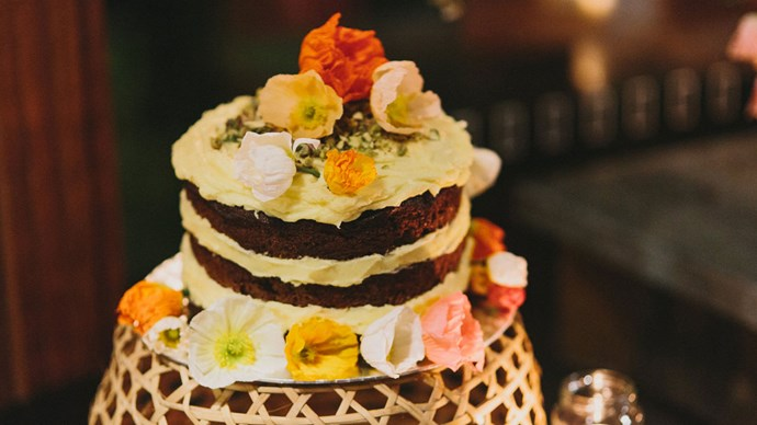 Nick's mum made the wedding cake - ginger and lemon flavoured with pistachio icing. | Photo: Thomas Stewart