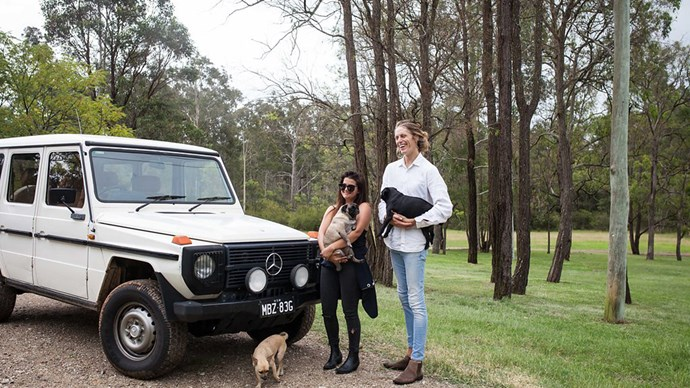 "Elsie, Brenton, and their dogs (from bottom left, Rusty, Cakey and Maggie). Image courtesy of [Hunter Hunter](http://www.hunterhunter.com.au/|target=""_blank""