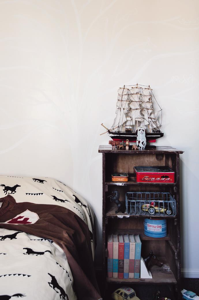A model ship, found at an op shop in Toowoomba, is moored on a cabinet in Finn's room, and makes a fitting metaphor for the roots the Douglas's have laid for themselves on the property.