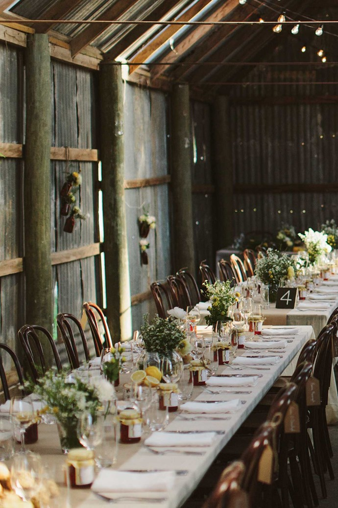 The couple married in a church nearby, then welcomed guests to The Barn.  | Photo: Narelle Joy