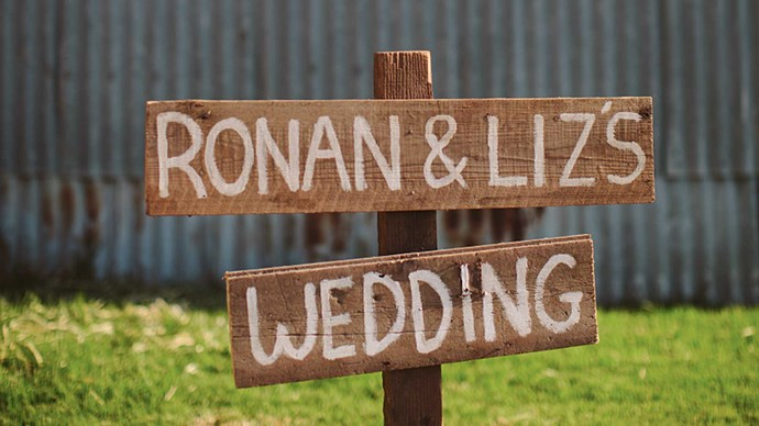 Hand-painted signage welcomed guests to The Barn. | Photo: Narelle Joy