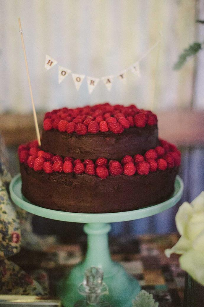A chocolate brownie cake, topped with fresh raspberries, was a hit among guests. | Photo: Narelle Joy