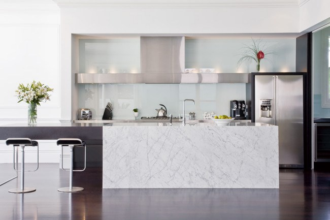 **Kitchen maintenance**| Apply stone sealers to marble bench tops periodically to prevent staining. [Floorboards](http://www.homelife.com.au/homes/living+dining/timber+stains+glossary,17457) stained dark then finished with a polyurethane bring depth to the room. | Photo: Emma Bass