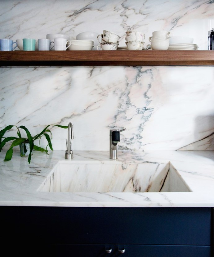 One of the attractions of marble is that it's available in a wide variety of natural colours, including white, black, grey, green, yellow and pink. Some pieces of marble have dark, prominent patterning, while others have more subtle marks. The irregular lines of veining can be a good contrast to the straight lines inherent in kitchens. Photo by Sean Slattery.